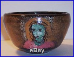 Vintage modernist Polia Pillin pottery vase bowl cup 2 women girl faces 2 birds