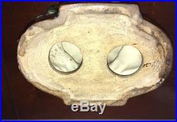 Vintage rare Majolica Rabbit Pedestal Centerpiece Compote / Bowl Signed