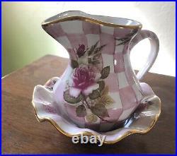 Vintage, retired Mackenzie-Childs Honeymoon Pink creamer and fluted bowl