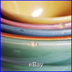 Vintage set of Bauer Pottery Ringware nesting bowls great condition