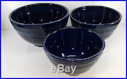 Vintage style 3 pc COBALT BLUE baking NESTING mixing BOWL SET FIESTA 1st NIB