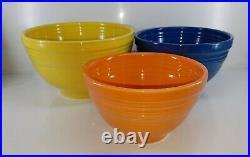 Vintage style 3 pc SUNFLOWER LAPIS TANGERINE baking mixing BOWL SET FIESTA 1st