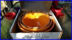 Vintage style 3 pc TANGERINE ORANGE baking NESTING mixing BOWL SET FIESTA 1st