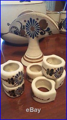 Vintage tonala stoneware hand painted signed'Mex E' Owl/Flowers dishes/pot/bowl