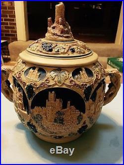 Vintage western germany ceramic punch bowl set and 8 mug set