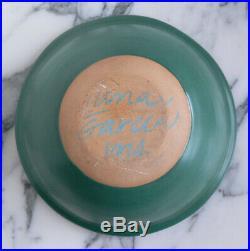 Vtg 1994 LUNA GARCIA Venice California pottery DOTS on green BOWL signed NO RSRV