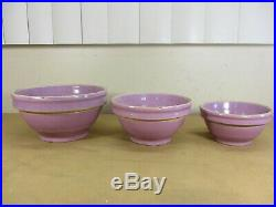 Vtg 5 Piece Yellow Ware Stoneware Pottery Nesting Mixing Bowls Set Lavender RARE