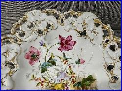 Vtg Antique Carl Tielsch German Porcelain Centerpiece Compote Bowl w Floral Dec
