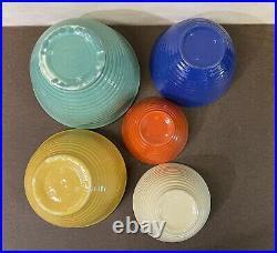 Vtg Bauer L. A. Pottery Set Of 5 Nesting Mixing Bowls Mixed Color Ringware Hive
