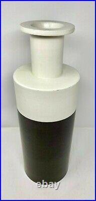 Vtg Bitossi Ceramiche Black White Matt Finish Cylinder Vase by Ettore Sottsass
