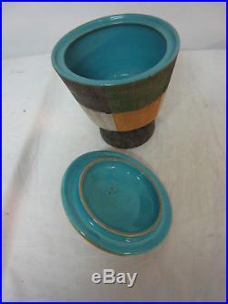 Vtg Bitossi Seta Plaid Design Cover Jar Bowl Italy Sgraffito Mid Century Modern