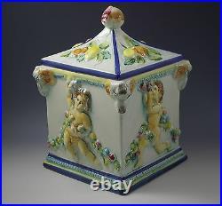 Vtg Capodimonte Italy Figural Cherubs Putti Lg Canister Biscotti Jar Renaissance
