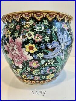 Vtg Chinese Pottery Porcelain Jardiniere Koi Fish Bowl Oriental Planter Pot Vase