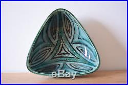 Vtg Danish Hyllested triangular bowl Studio pottery Denmark midcentury