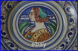 Vtg Deruta Italy Majolica Portrait Large Octagon Bowl 12 Artist Signed