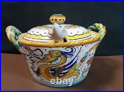 Vtg. FIMA Deruta Italy Majolica Raffaellesco Parmesan Cheese Bowl withLid + Spoon