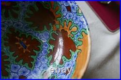 Vtg Frederick/Charlotte Rhead Benares Bursleyware fruit bowl retro 20s 60s 70s