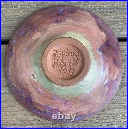 Vtg HARDING BLACK Mid Century Modern POTTERY Bowl PURPLE GLAZE 1971 Damage