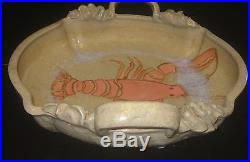 Vtg Hand Made/thrown Pottery Bowl W Hand Painted Lobster Inside & Sculpted Edge