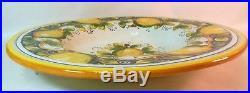 Vtg Italian MAJOLICA Charger Plate Bowl Wall Hanging Hand Painted LEMONS
