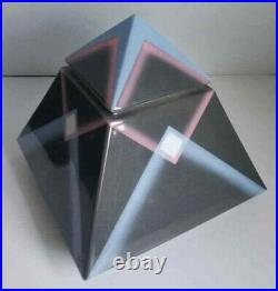 Vtg Julie Tyrone Larson Mid Century Memphis Pop Op Art Pyramid Stash Jar Pottery