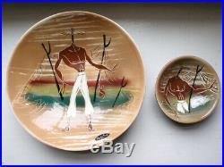 Vtg MARC BELLAIRE Pottery 1950s BEACHCOMBER TIKI PLATTER SERVE BOWL SET LOT Gold