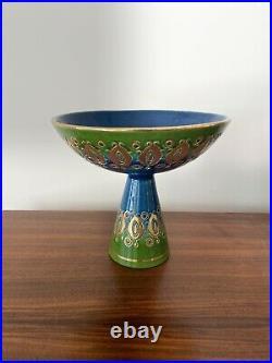 Vtg MCM Rosental Netter Aldo Londi Italian Ceramic Pottery Bowl Green Blue Gold