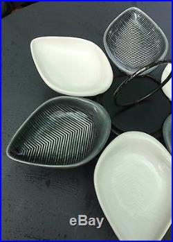 Vtg MCM modern pottery leaf BOWLS w LAZY SUSAN eames tiki bar pupu platter
