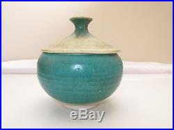 Vtg MID Century Modern Zen Organic Studio Pottery Sugar Bowl Scargo Jade Green