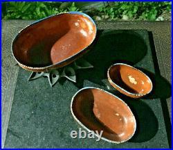 Vtg Mexican Clay Redware Tlaquepaque (3) Nesting Baking (3) Nesting Bowls Plus