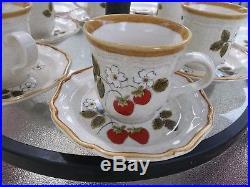 Vtg Mikasa Pottery Strawberry Festival Plates Bowls Salad Cream Sugar Setting 6