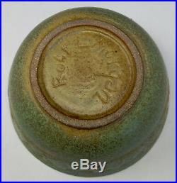 Vtg. ROBERT L MORGAN Studio Pottery Bowl Moss Green Faces & Figures, scheier era
