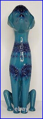 Vtg Rimini Blue 18 3/4 Dog Figurine Aldo Londi Bitossi Style Signed Italy