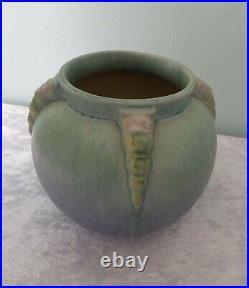 Vtg Roseville Topeo Blue round rose bowl vase 245-6 USA arts & crafts pottery