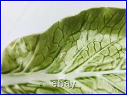 Vtg-bordallo Pinheiro Portugal-cabbage Leaf Pottery-handmade-server & 3 Bowls