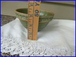 Vtg tiny MCCOY Green Sunburst Yellow Ware Stoneware Nesting Mixing Bowl, smallest