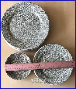 WALLACE CHINA LA 15p Vintage Dinnerware Plates Bowls RARE Green Floral RETRO VTG