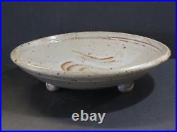 Warren Mackenzie Vintage Large Footed Bowl With Finger Swipes, Marked, Pvt. Coll