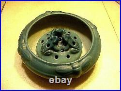 Wonderful Vintage Matt Blue Van Briggle Bowl (Moth Pattern) & Flower Frog