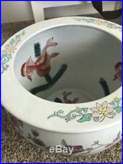 X-LARGE Vtg Asian/Oriental Koi Fish Bowl JARDINIERE Hand Painted Floral Planter