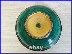 Y3208 CHAWAN Kutani-ware Aote green Japanese bowl pottery Japan antique vintage